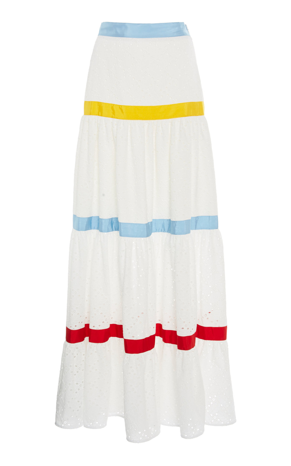 Stella Jean Sangallo Tiered Skirt in white