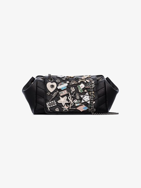 Saint Laurent black Nolita small badge leather shoulder bag