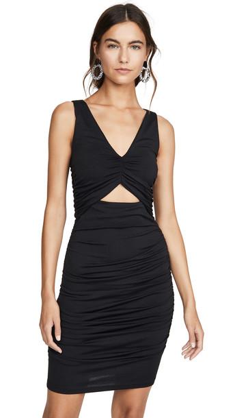 Susana Monaco V Neck Gathered Cutout Dress in black