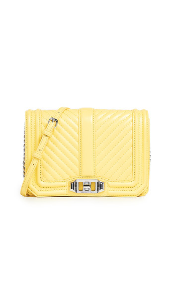 Rebecca Minkoff Chevron Quilted Small Love Crossbody Bag in yellow