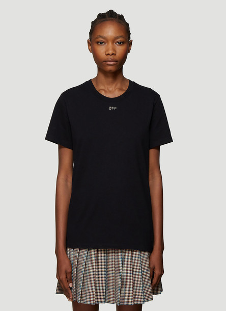 Off-White Crystal Embellished T-Shirt in Black size M