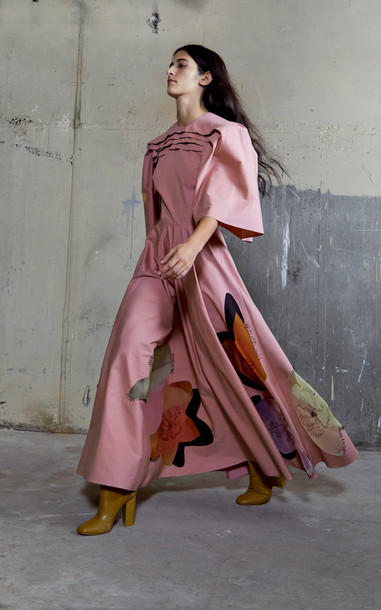 ROKSANDA Raeya Printed Cotton Maxi Dress Size: 16 in pink