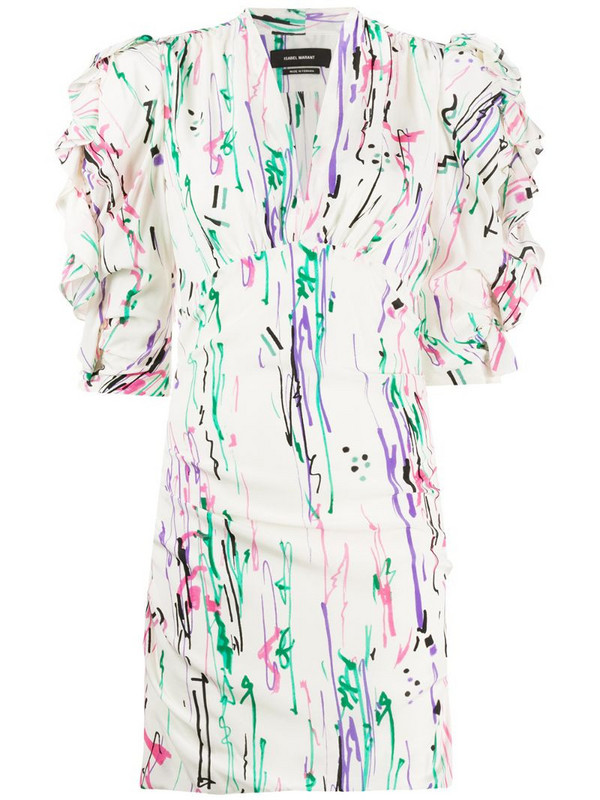 Isabel Marant abstract-print puff-shoulder dress in white