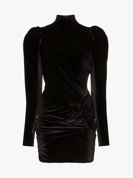 Alexandre Vauthier Puffed shoulders side ruched dress in black