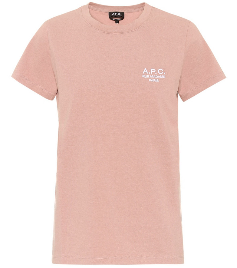A.P.C. Logo cotton T-shirt in pink