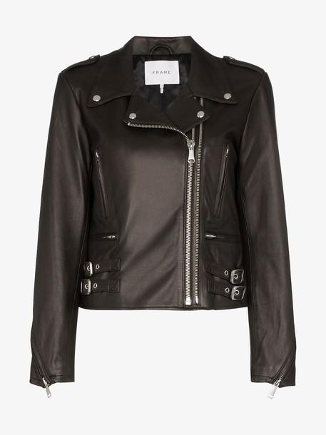 FRAME biker leather jacket in black