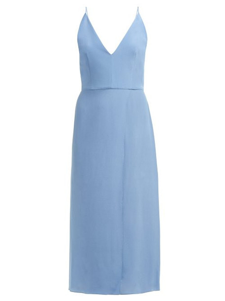 Raey - Fitted Silk Wrap Dress - Womens - Blue