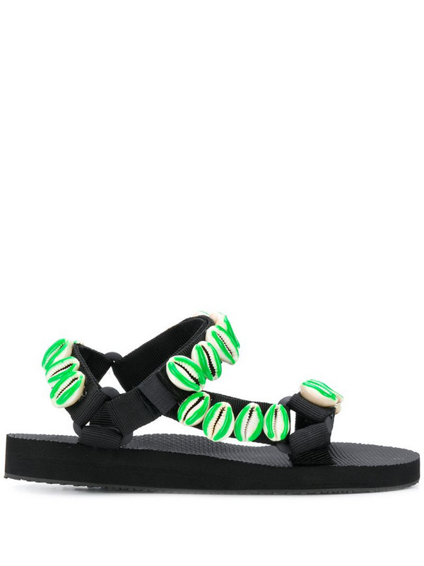 Timeless Pearly seashell-embellished flat sandals in black