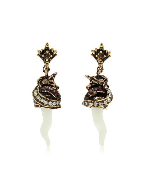 Alcozer & J Unicorn And Horn Brass Earrings in gold