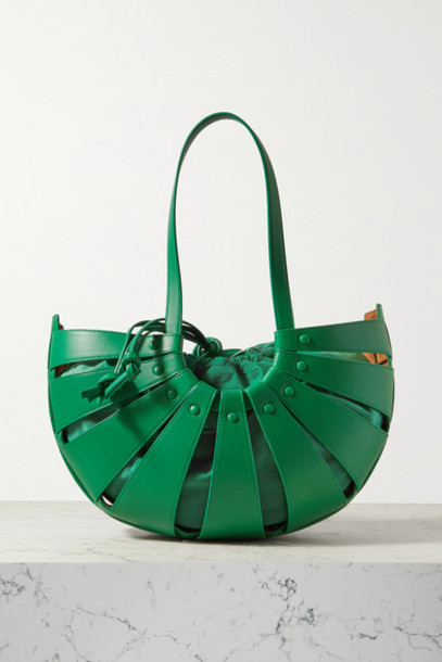 Bottega Veneta - The Shell Medium Leather Shoulder Bag - Green