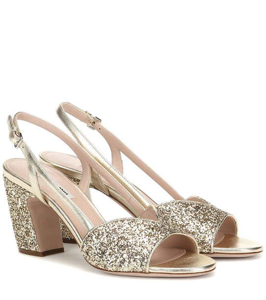 Miu Miu Glitter slingback sandals in gold