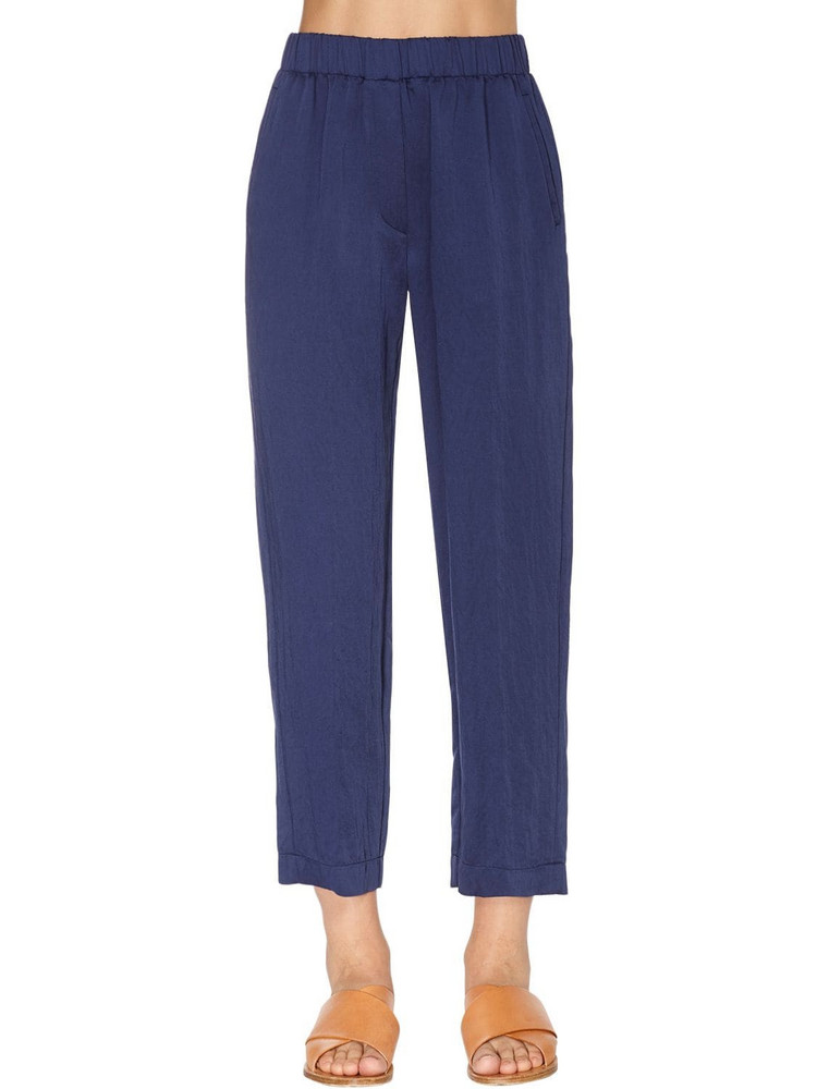 FORTE FORTE High Waist Washed Viscose Pants in blue