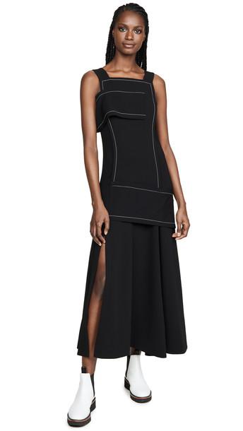 3.1 Phillip Lim Crepe Asymmetric Wrap Cold Shoulder Dress in black