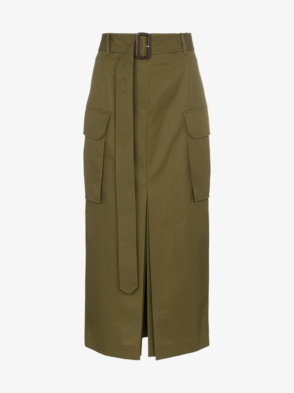 Juun.J Belted combat style high-waisted skirt in khaki