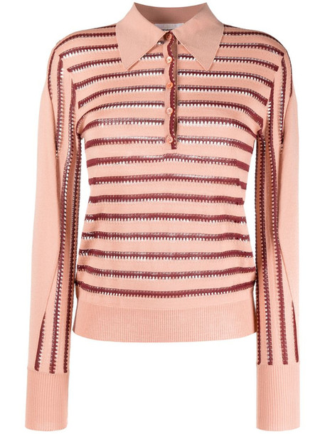Chloé striped knitted polo top in pink