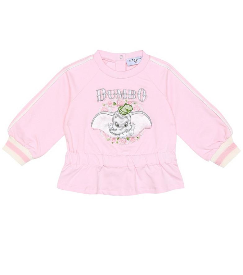 Monnalisa Baby stretch-cotton sweatshirt in pink