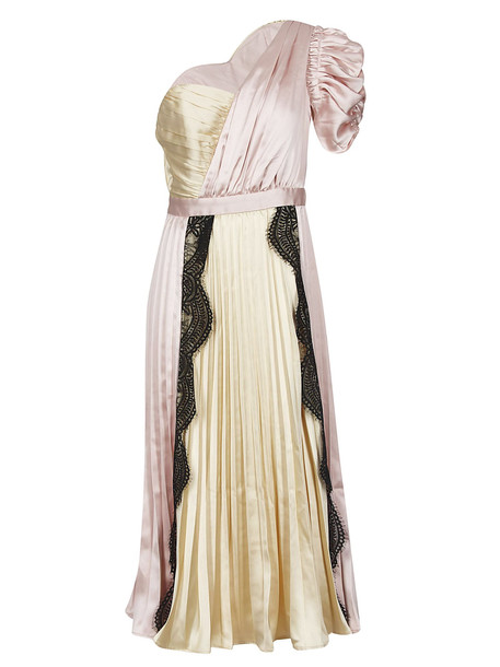 Self-portrait One-shoulder Dress in pink / yellow
