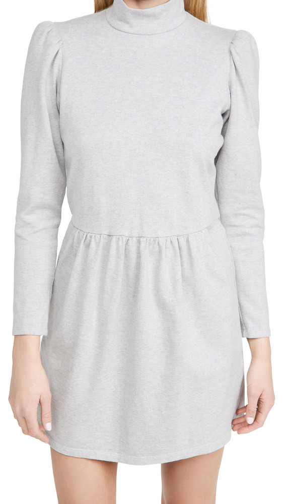 La Vie Rebecca Taylor Long Sleeve Heather Jersey Dress in grey