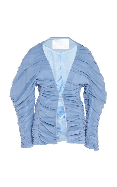 Richard Malone Ruched Puffed Sleeve Shell Jacket Size: XS in blue