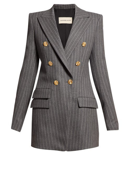 Alexandre Vauthier - Double Breasted Pinstriped Blazer - Womens - Grey Multi