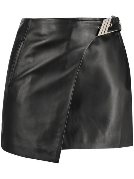 The Attico buckled wrap mini skirt in black