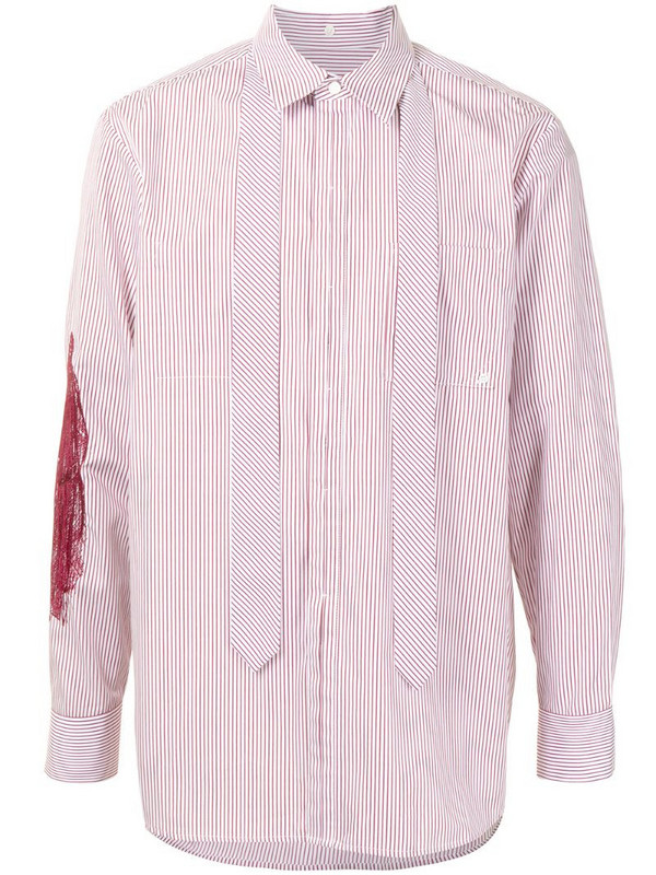 SONGZIO embroidered striped-print cotton shirt in red