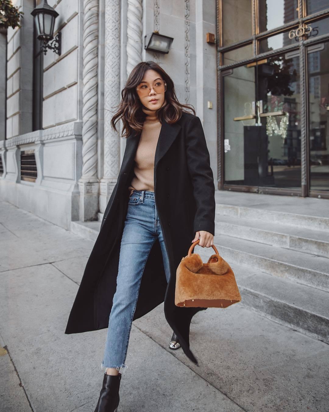 bag brown bag furry bag black boots ankle boots cropped jeans black coat turtleneck sweater