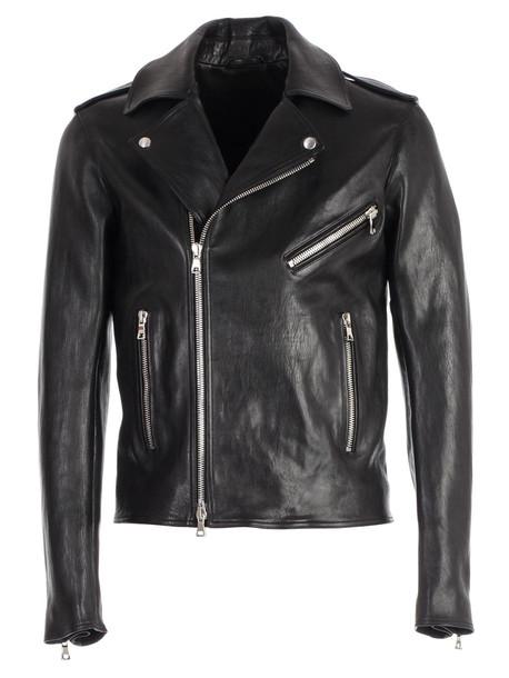 Balmain Zipped Biker Jacket in black