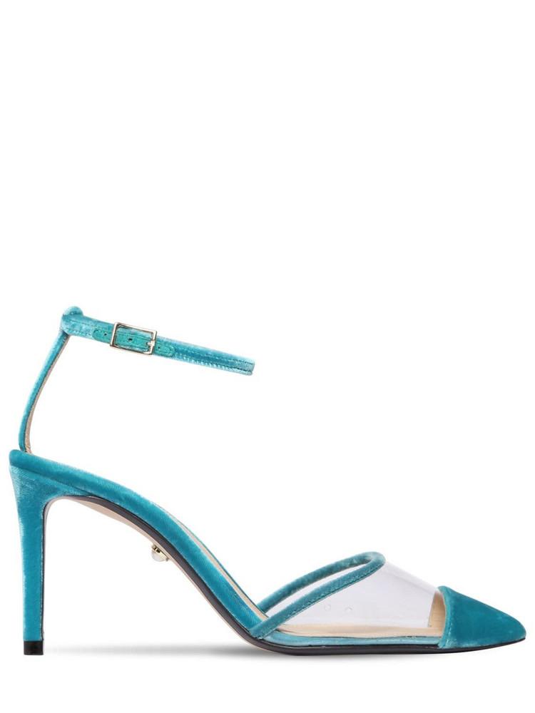 ALEVÌ 80mm Sara Plexi & Velvet Pumps in turquoise
