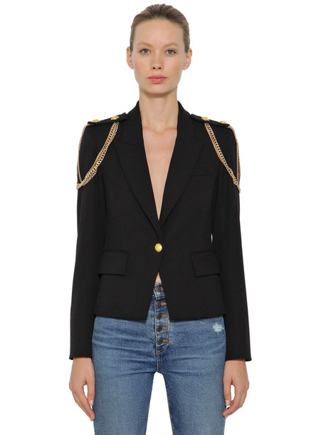 VERONICA BEARD Chain Embellished Stretch Crepe Blazer in black