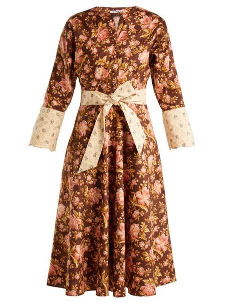 Batsheva - Floral Print Cotton Dress - Womens - Brown Multi