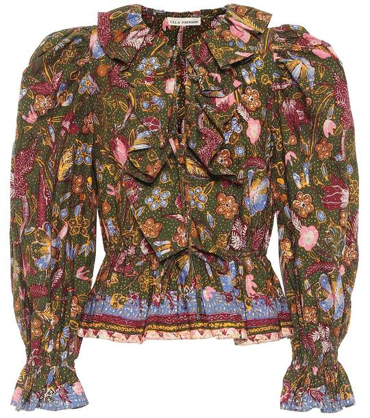 Ulla Johnson Kalila floral cotton blouse in green