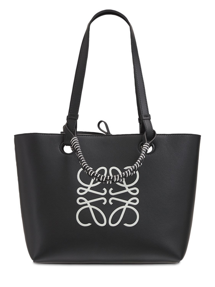 LOEWE Anagram Leather Small Tote Bag in black / white