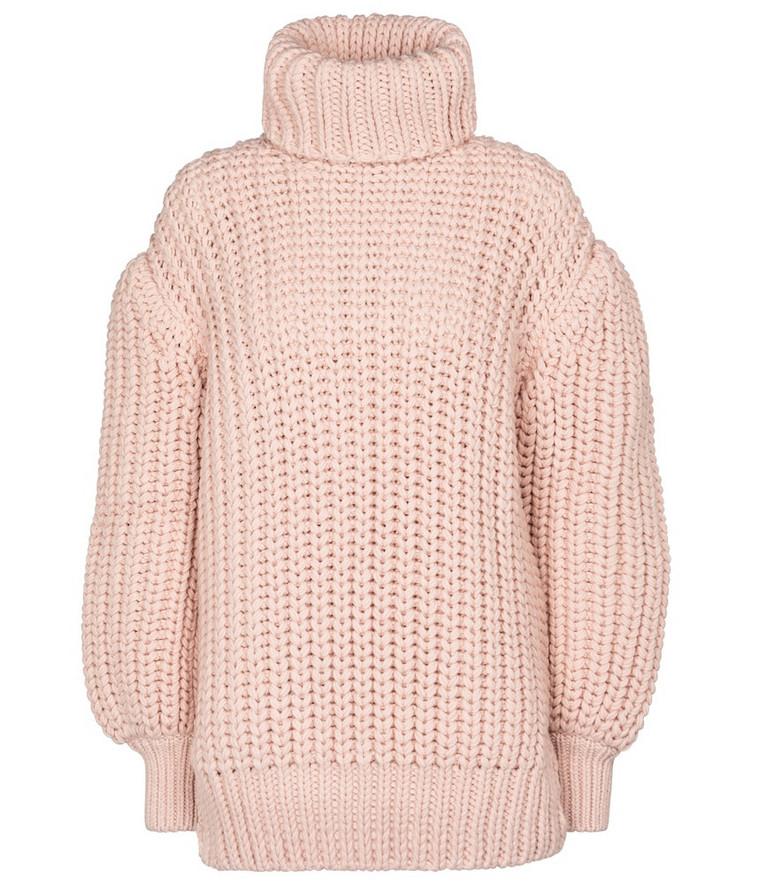 Fendi Wool turtleneck sweater in pink