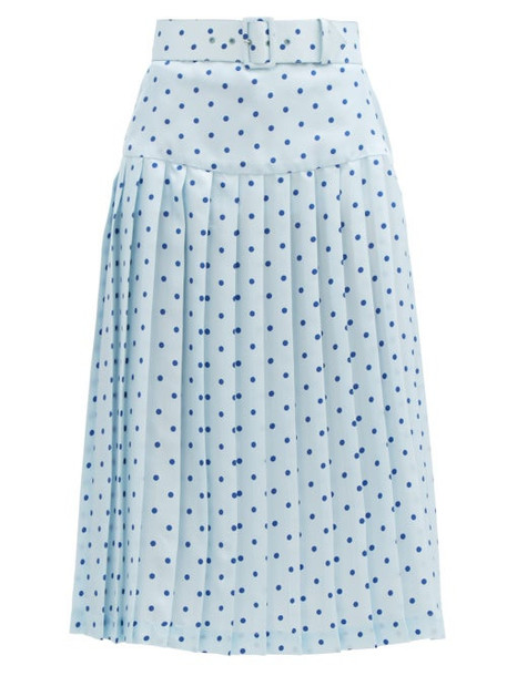 Rodarte - Belted Pleated Polka-dot Satin-twill Midi Skirt - Womens - Blue Multi