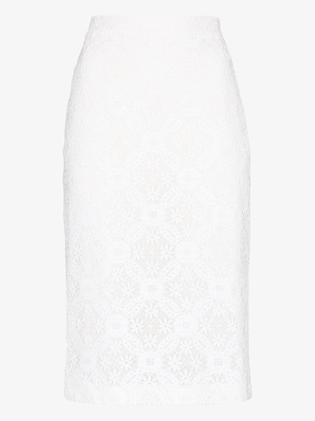 Alexander McQueen high waist lace pencil skirt in white