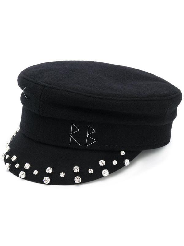 Ruslan Baginskiy embellished baker boy hat in black