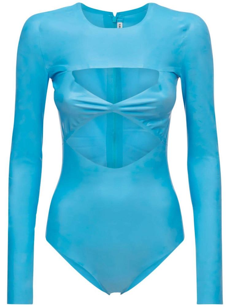 ALESSANDRO VIGILANTE Latex Effect Cut Out Bodysuit in blue