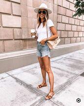 shorts,denim shorts,slide shoes,white t-shirt,chanel bag,hat