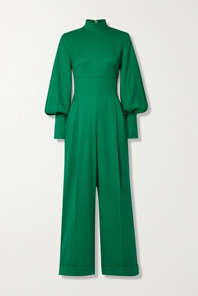 EMILIA WICKSTEAD - Elvina Pleated Wool Jumpsuit - Green