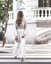 pants,wide-leg pants,high waisted pants,high heel sandals,top,long sleeves,handbag