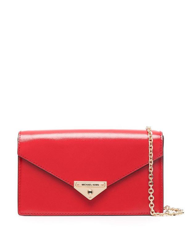 Michael Michael Kors Grace envelope clutch bag in red