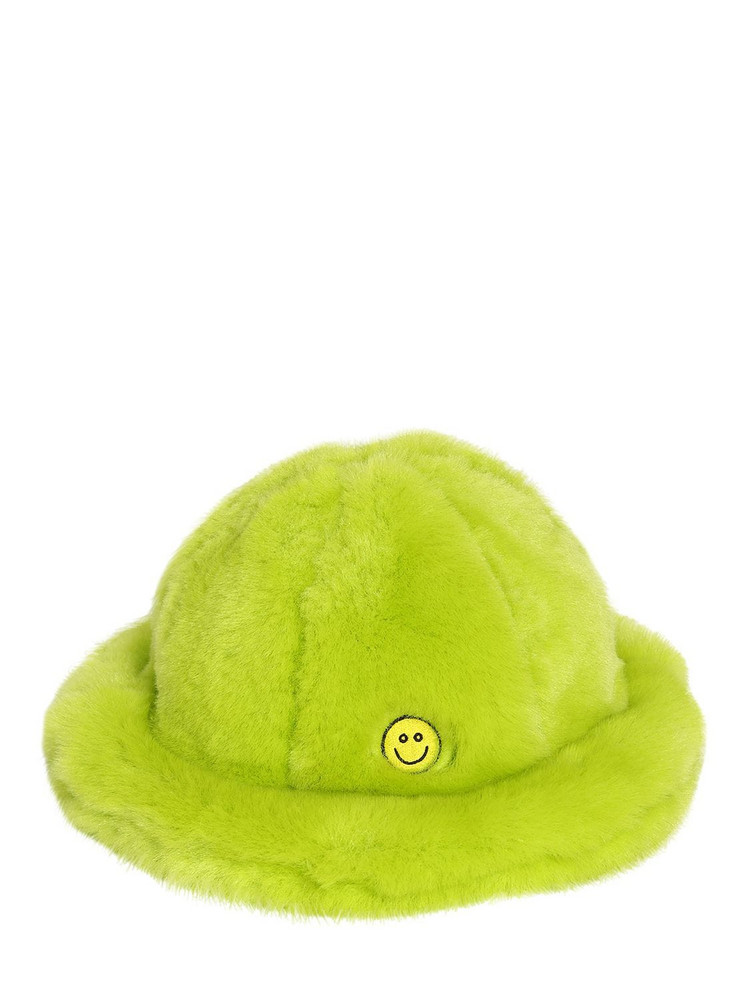 KIRIN Smile Faux Fur Hat in green