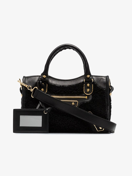 Balenciaga BAL MINI CITY SHRLNG LTHR TOTE in black