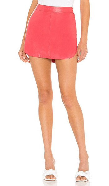 Karina Grimaldi Simon Leather Skirt in Coral in pink