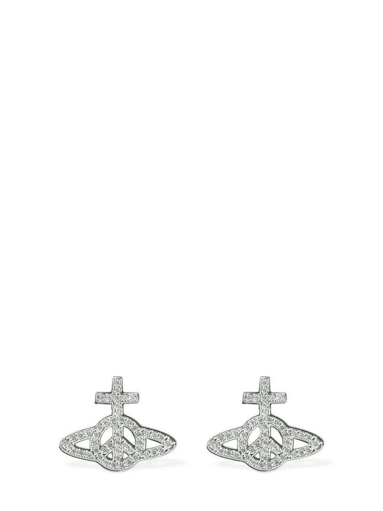 VIVIENNE WESTWOOD Peace Pavé Earrings in silver
