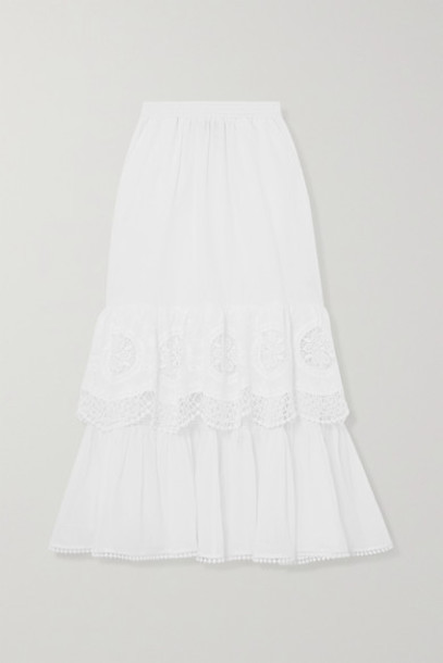 Charo Ruiz - Marga Crocheted Lace-paneled Cotton-blend Voile Midi Skirt - White