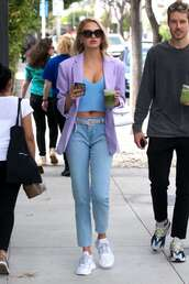 jacket,lilac,romee strijd,celebrity,model off-duty,streetstyle,blazer,spring outfits,crop tops