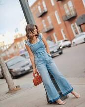 jumpsuit,denim,sleeveless,handbag,sandals,white top