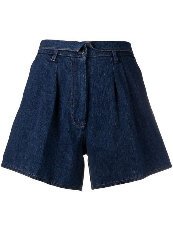 Forte Forte folded-waist denim shorts in blue